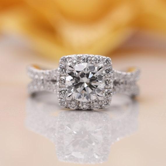 14k Gold Moissanite Halo Diamond Engagement Ring/ Moissanite Engagement Ring/ 14K Gold Proposal Ring/Diamond Engagement Ring/Art Deco Ring