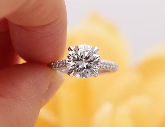14k Gold 2 CT Moissanite Diamond Engagement Ring/Moissanite Engagement Ring/ 14K Gold Proposal Ring/Diamond Engagement Ring/Art Deco Ring