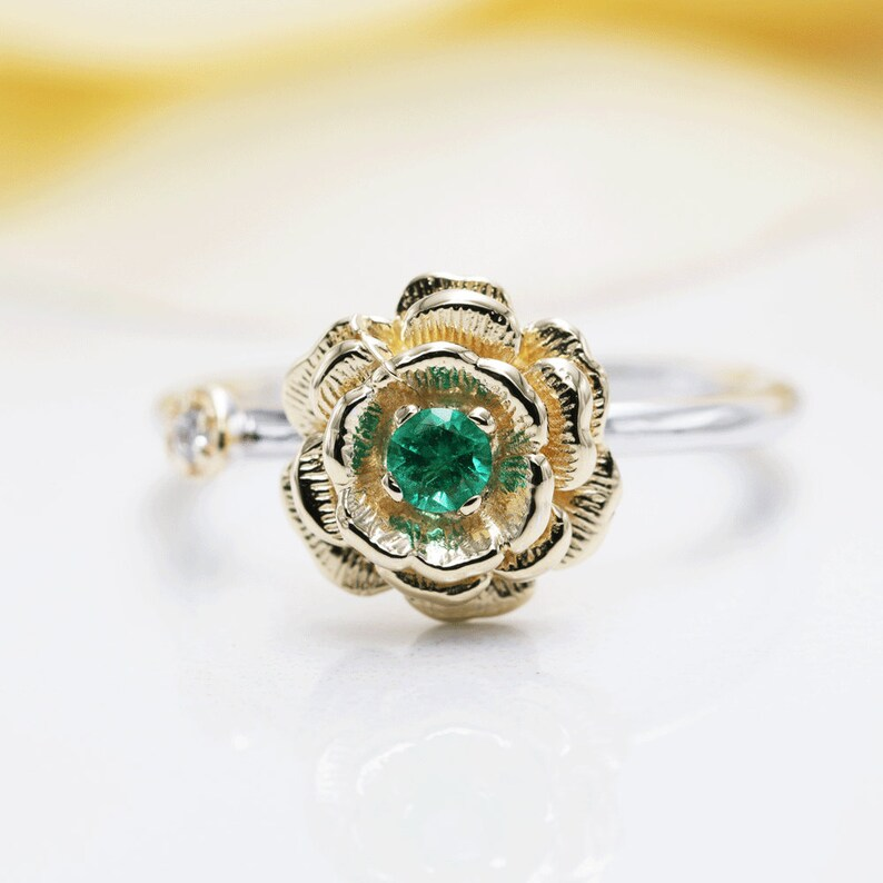 14K Gold May Rose Emerald Diamond Ring/Emerald Rose image 0
