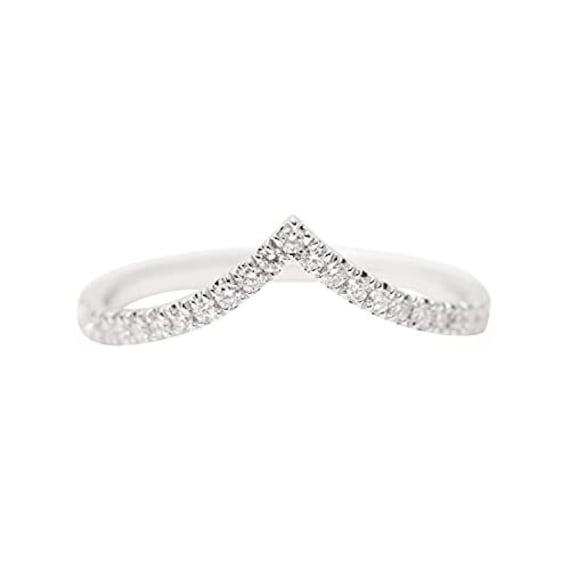14K Gold Diamond Chevron Ring/Diamond Shimmering Ring/Gold V Shape Ring/Perfect Matching Band/Stackable Ring/Wedding Band/Graphic Ring/Band