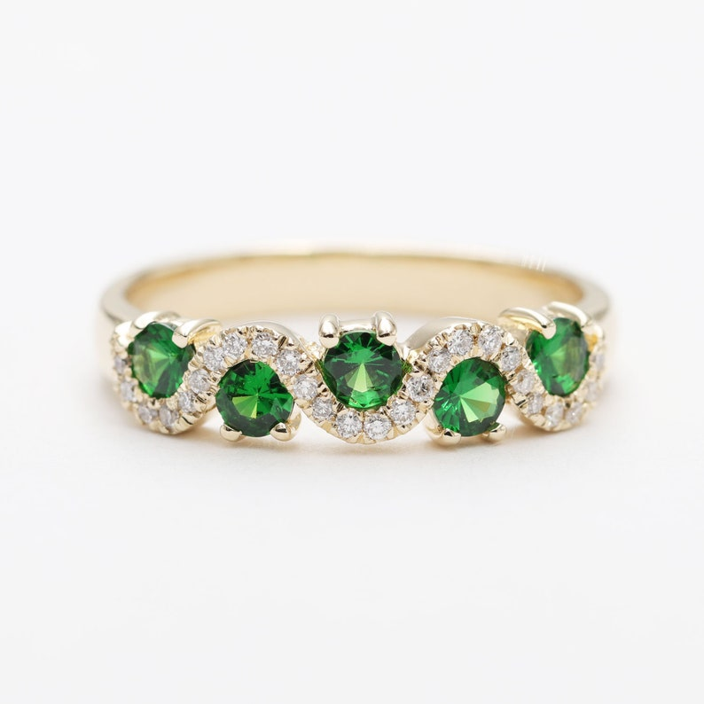 Green Tsavorite Diamond Wave Wedding Band/Green Gem Wedding image 0