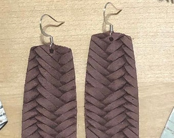 Spring Leather Earrings Avocado Leather Leigh weight Teardrop