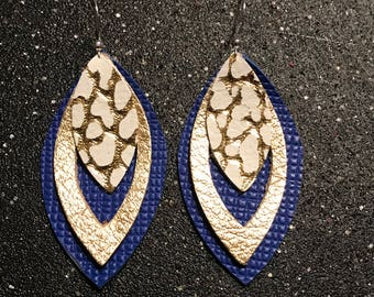 Leather Earrings, Royal Blue, Gold, Metallic, Layers, Light weight