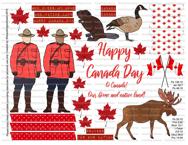 Canada Day, beautifulgoodnews, bible journaling, traceable, printable,  faith, christian, sticker, art