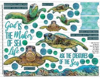 Sea Life, Sea Turtles, Ocean, bible journaling, traceable, printable, faith, christian, sticker, art
