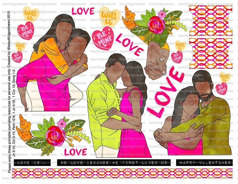 Love, beautifulgoodnews, Valentines, bible journaling, traceable,  printable, faith, christian, sticker, art