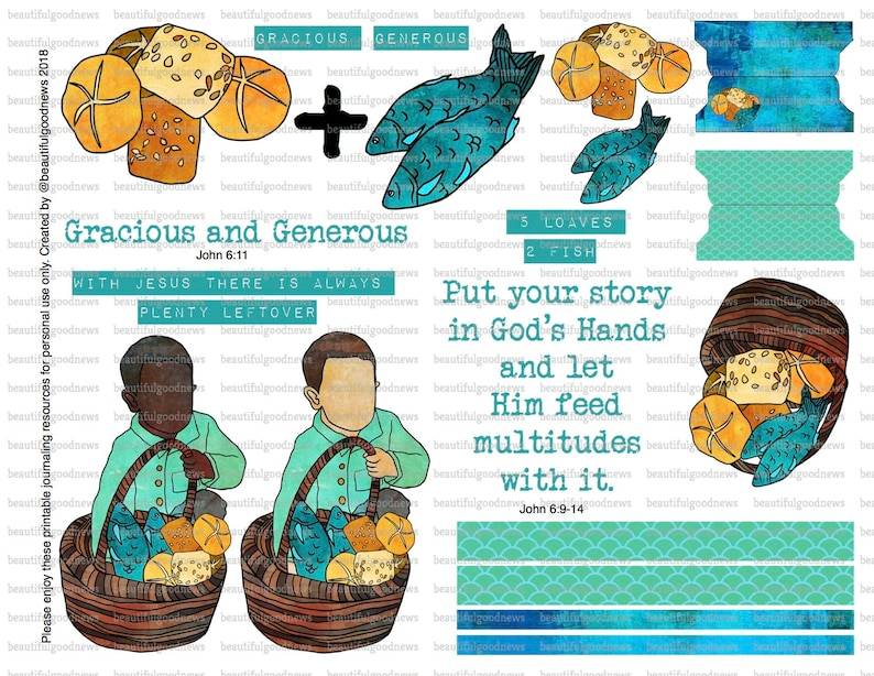 picture about Printable Loaves and Fishes identified as Loaves and Fishes, Feeding the 5000, bible journaling, traceable, printable, religion, christian, sticker, artwork