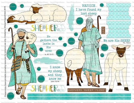 His Sheep, Good Shepherd, bible journaling, traceable, printable, faith,  christian, sticker, art