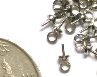 4 mm Connector Ring Silver Plated Brass 3 mm Bead cap with peg and link for half drilled beads 50 pcs