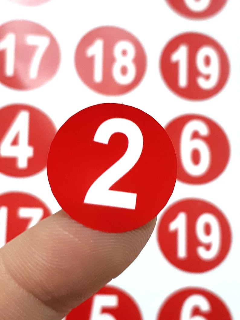 Advent christmas calendar stickers red white 24 number etsy