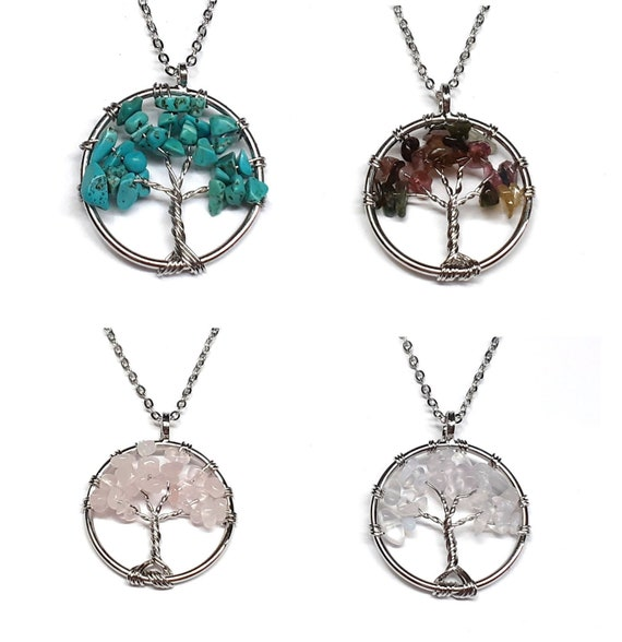 Chakra Tree of Life Natural Stone Chip Pendant and Keychain Gift Jewelry Reiki