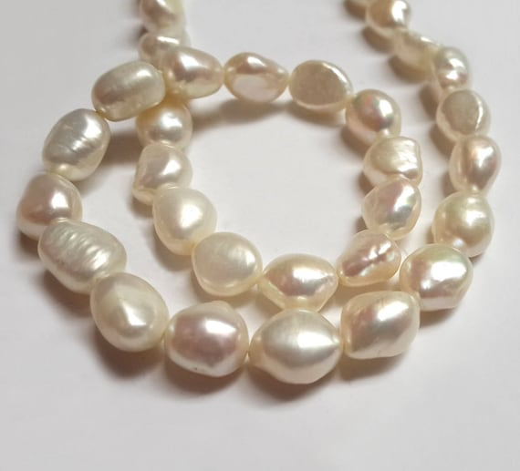"""New 8-9mm Natural Baroque White Freshwater Real Pearl Loose Beads 14/"""" Strand"""