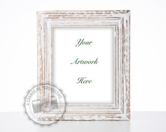 White Rustic Frame Mockup/ Digital File/ 8x10 Frame/ Wood Frame/ Styled Photography/ Vertical or Horizontal Frame