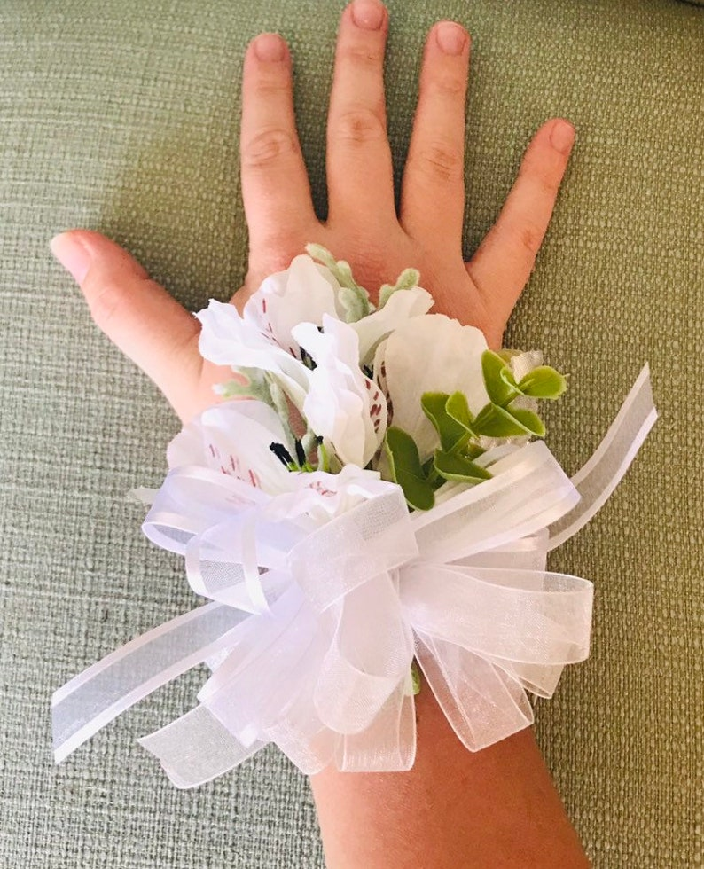 White Alstromeria Wrist Corsage