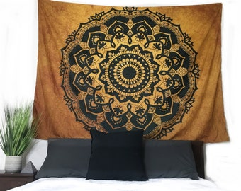 New Bronze and Black Mandala Wall Hanging Tapestry, Boho, hippie, wall hanging tapestry, LARGE 80x60 inches