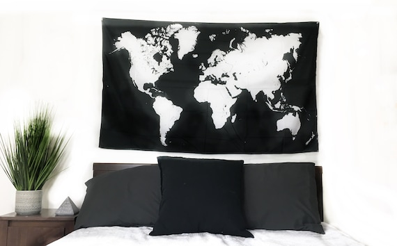 New world map tapestry 60x35 inches minimalist blackwhite etsy gumiabroncs Choice Image