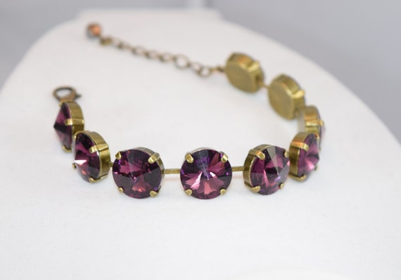 Gemstone Bracelet by AccentsBySonia Amethyst Silver Bracelet Amethyst Bracelet Amethyst Stone Bracelet