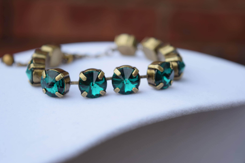 Swarovski Emerald Crystal Bracelet 10mm Swarovski Crystal  d8b892329a