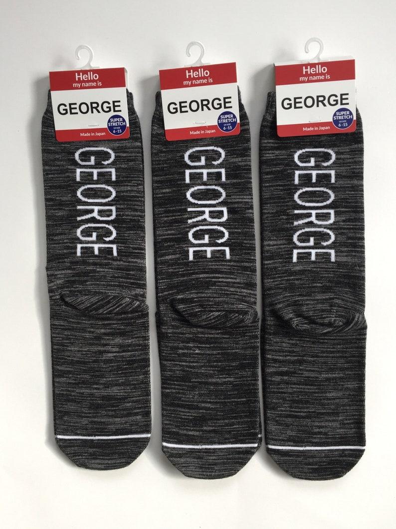Personalized Gift Socks for Men 3 Pairs of GEORGE SOCKS Grandpa Socks Black Heather| Made in Japan Dad Socks Groomsmen Socks