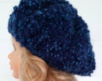 Blue beret or hat