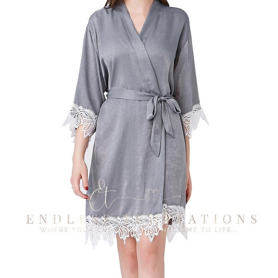 GREY Satin Lace Trimmed Robe; Bride; Bridesmaids;