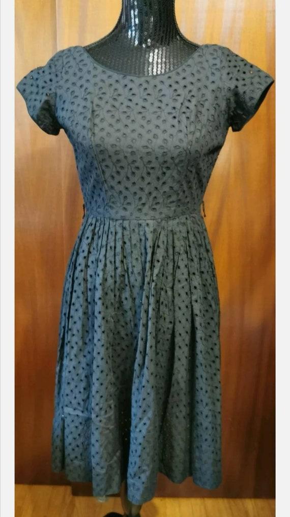 Sty-Val Montreal 1950s Black Eyelet Dress