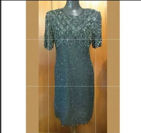 Laurence Kazar Silk Beaded Cocktail Dress Size Lar