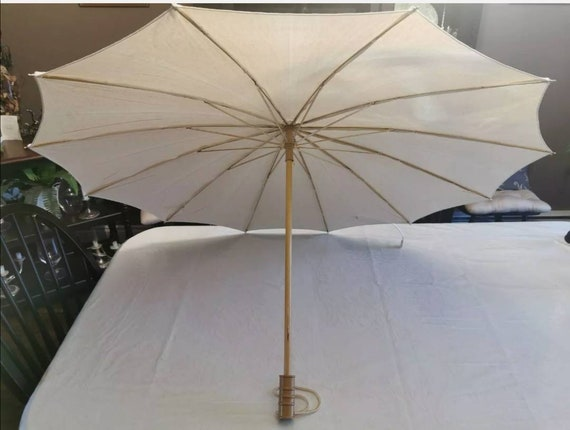 Vintage Sunbrolly Canvas Bamboo Sun Umbrella/Paras