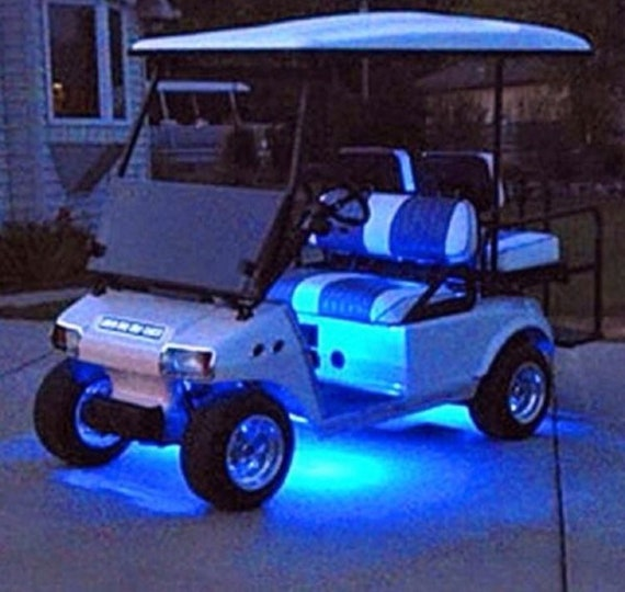 4pc Led Blue Golf Cart Kart Neon Under Body Underglow Light 12v Custom Waterproof