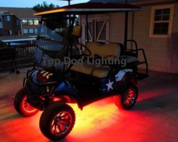 4pc Led Red Golf Cart Kart Neon Under Body Underglow Light 12v Custom Waterproof