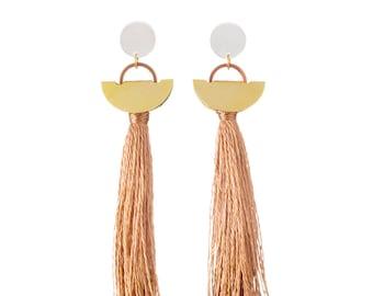 Bronze Tassel Earring Stud Drops, Handmade Australian Statement Earrings: brass
