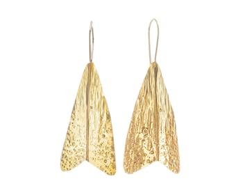 Moth Drop Gold Earrings, Textured Statement Earrings, Handmade Jewellery: Golden Brass