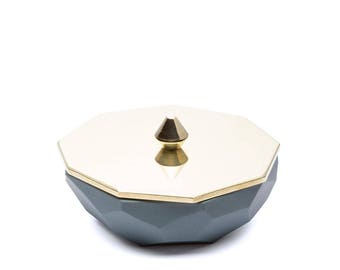 Faceted Jewellery Dish - Brass & Slate Porcelain (small)