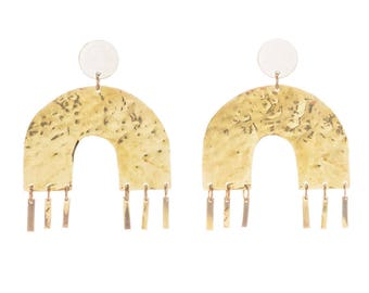 Gold Arc Earrings, Modern Memphis Studs, Handmade Australian Statement Jewellery: brass and silver