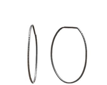 Linear Circle Hoop Earrings, Handmade Statement Piece: Oxidised Silver