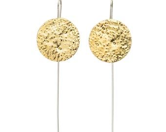 Moon Drop Gold Earrings, Textured Handmade Statement Piece: Brass