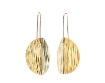 Sun Drop Earrings, Textured Earrings, Handmade Statement Piece: Brass