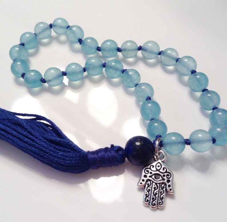 f24f37630fd17 COMMUNICATION & EXPRESSION Pocket mala, aquamarine mala, wrist mala, 27  bead mala, mini mala, prayer beads, hamsa mala, healing gemstones