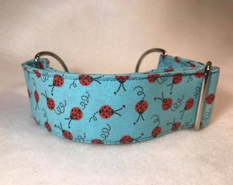 Blue with small ladybug chain martingale