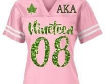 ea754f9f44d AKA Paraphernalia, AKA Jersey, Customized Alpha Kappa Alpha, Fitted Glitter  Jersey