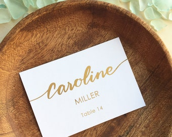 custom gold foil script name place card personalized flat or tented wedding escort cards - Custom Place Cards