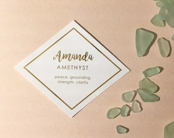 Reserved for Amanda (100) Personalized Gold Hexagon or Diamond Place Cards   |   Gold Foil Seating Cards  |  Modern Calligraphy