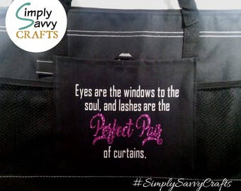 Customizable Tote Bag, Mesh Pockets, Durable, Bossbabe, Promote  Products, Mascara, Lashes, Custom Gift, Life Quote, Makeup,