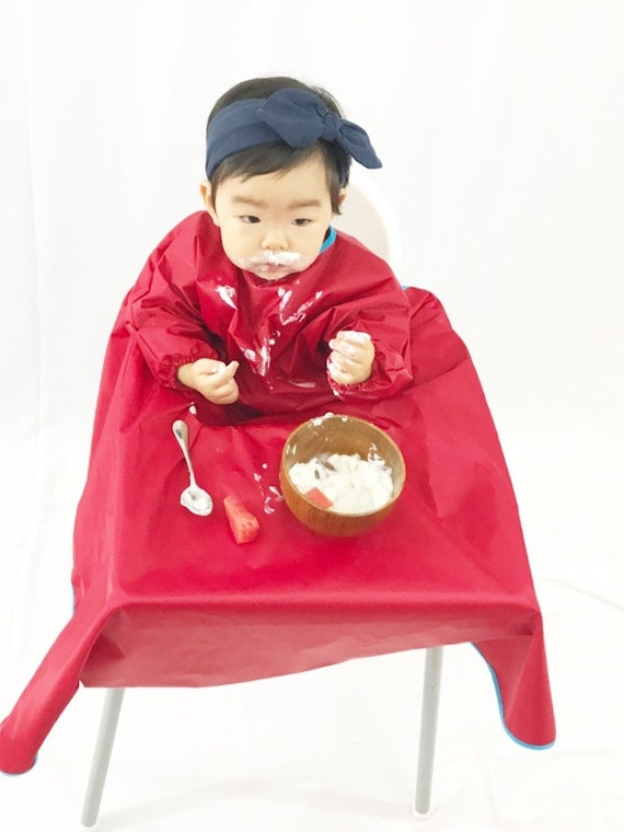 Pleasant Red Yuribib Sleeved Baby Bib And Highchair Cover For Mess Free Meals Ocoug Best Dining Table And Chair Ideas Images Ocougorg