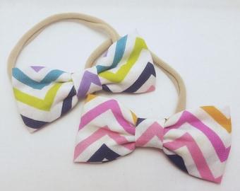 rainbow chevron headbands, multicolor stripes, rainbow headbands, chevron headbands, baby headbands, nylon headbands, multicolor headbands