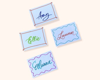 Special introductory offer - place cards with colourful calligraphy for a chic soirée, bridal shower and hens party.