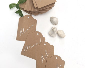 Swing tags, hang tags, gift tags for bomboniere, favors, gifts. Custom hand lettered calligraphy. Use also as wedding or party place cards.