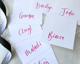 Party place cards, colourful name cards with brush lettering calligraphy for your boho or chic soiree. By cnbcalligraphy.