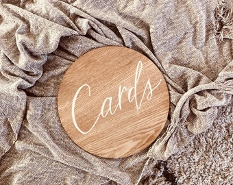 Wooden wedding sign. Gifts and cards day-of wedding signs, wedding day decor, wooden wedding signage, timber round sign.