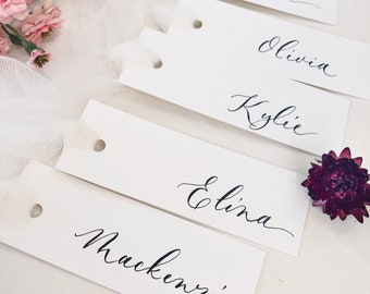 Minimalist calligraphy place cards for your wedding reception or special events. Table place setting by cnbcalligraphy